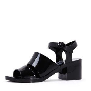American Apparel Black Heeled Jelly Sandals 10